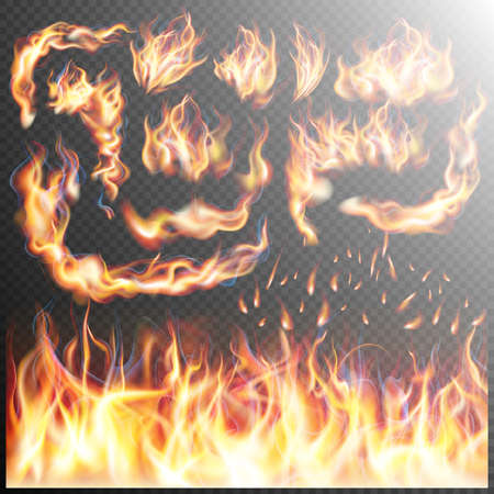 Fire flame strokes realistic isolated on transparent background.