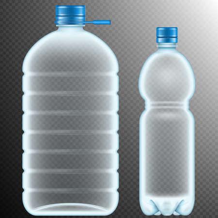 Plastic bottles isolated on transparent background. Vetores