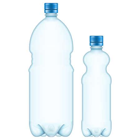 AI: Plastic bottles isolated on white.