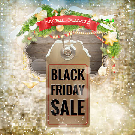 paper tag: Black Friday sale realistic paper price tag on Christmas background with snow.