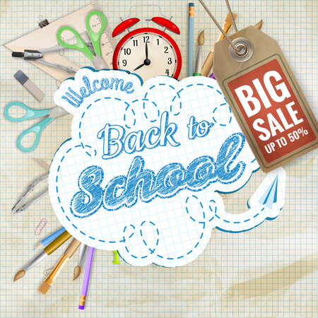 chalk board: Back to School sale background.