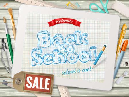 Volver a la venta Fondo de la escuela. Ilustración de vector
