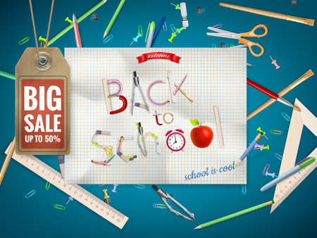 retail equipment: Back to School sale background.