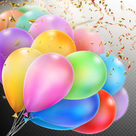 fete: Colorful holiday background with balloons and confetti.