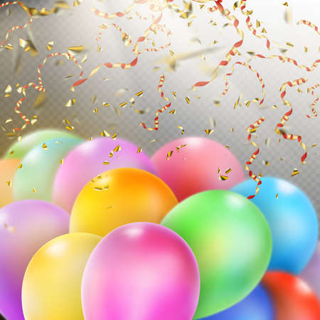 inflating: Colorful holiday background with balloons and confetti.