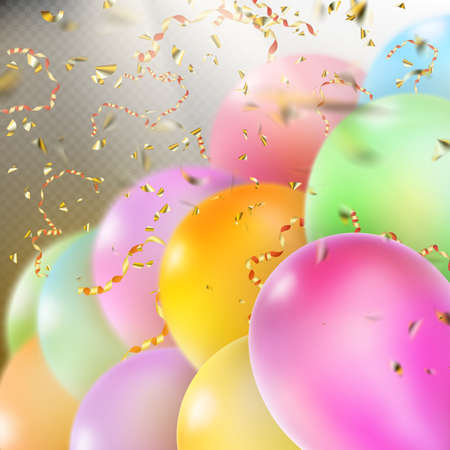 midair: Colorful holiday background with balloons and confetti.