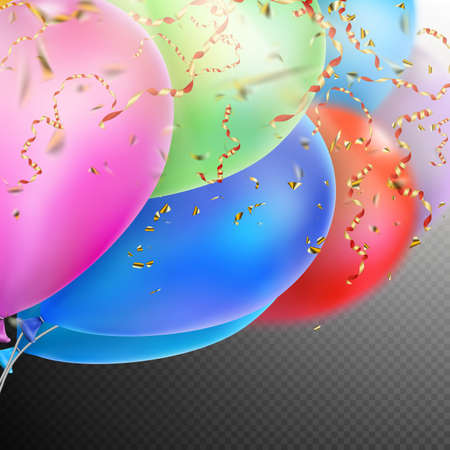 beam with joy: Colorful holiday background with balloons and confetti.