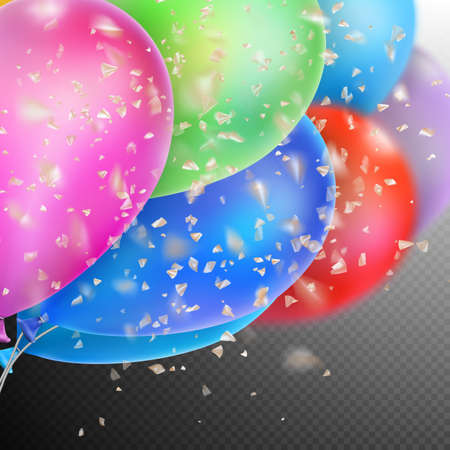 beam with joy: Colorful holiday background with balloons and confetti. Shallow Dof. EPS 10 vector file included