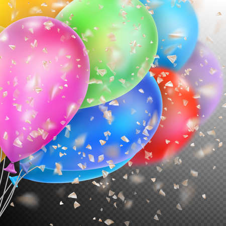 dof: Colorful holiday background with balloons and confetti. Shallow Dof. EPS 10 vector file included