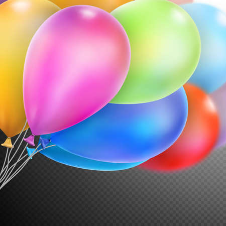 flotation: Colorful balloons with happy celebration party background. Illustration