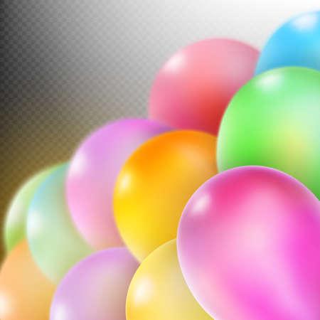 flotation: Colorful balloons isolated on dark transparent background. Illustration