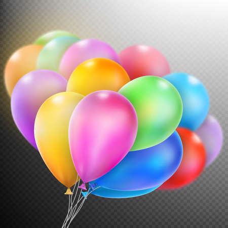flotation: Colorful balloons isolated on dark transparent background. Illustration