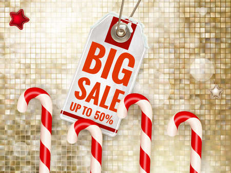 christmas sale: Christmas sale on gold background.