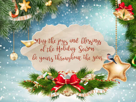 Christmas greeting card - holidays lettering on a winter snow background.