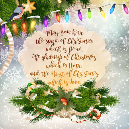 Christmas Greeting Card. Merry Christmas lettering. EPS 10 vector file included