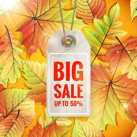 seasonal: Autumn seasonal sale label. Illustration
