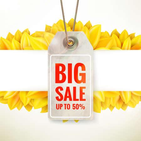 Autumn seasonal sale label. Illustration