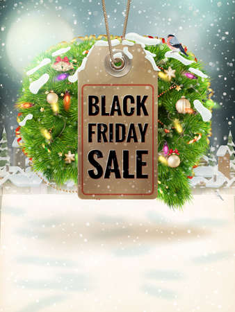 christmas sale: Christmas Sale tag for Promotion with a decoration.