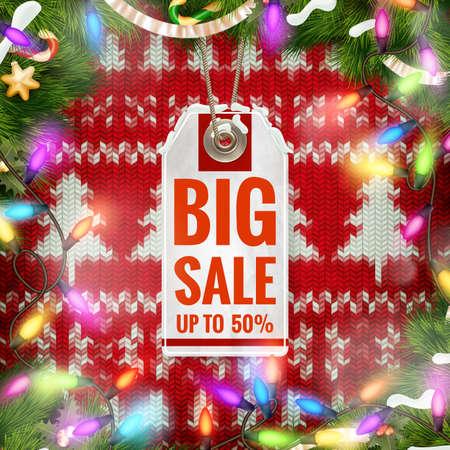 christmas sale: Christmas Sale Tag. Illustration
