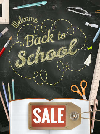Powrót do szkoły sprzedaży tle.