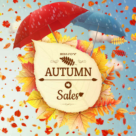 Background on a theme of autumn. Sale. Illustration