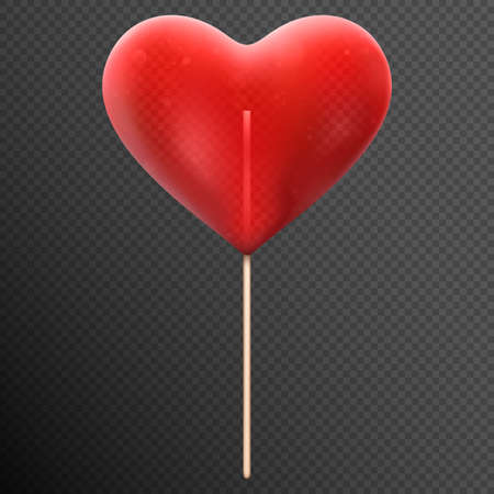 Red heart shaped candy lollipop isolated on transparent background. Ilustração