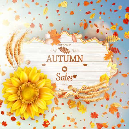 wet leaf: Background on a theme of autumn. Sale. Illustration