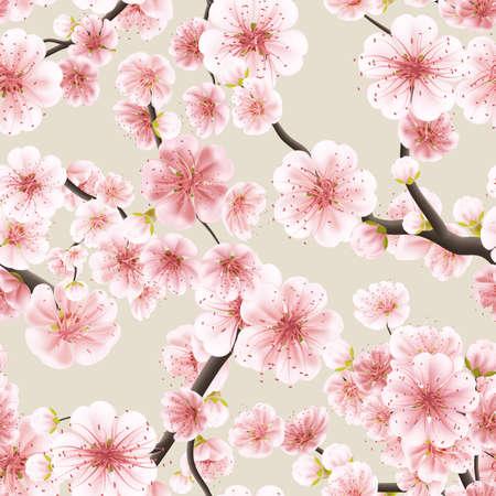 Seamless fond rose Sakura fleur ou japonais cerise de floraison symbolique de printemps dans un format carré arrangement aléatoire approprié pour textile.