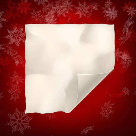 caes: hoja de navidad de papel curvo en el fondo copos de nieve roja. Vectores