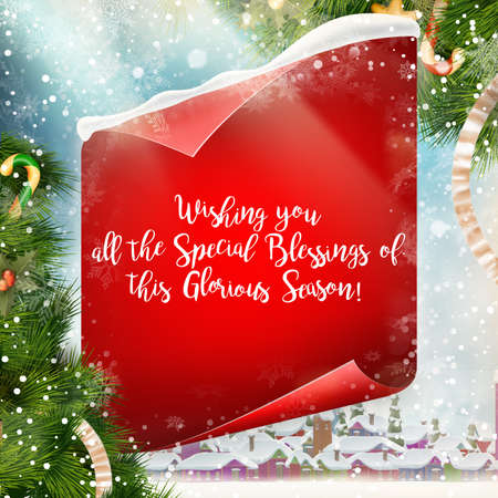 scroll paper: Merry Christmas greeting card template with red scroll paper.