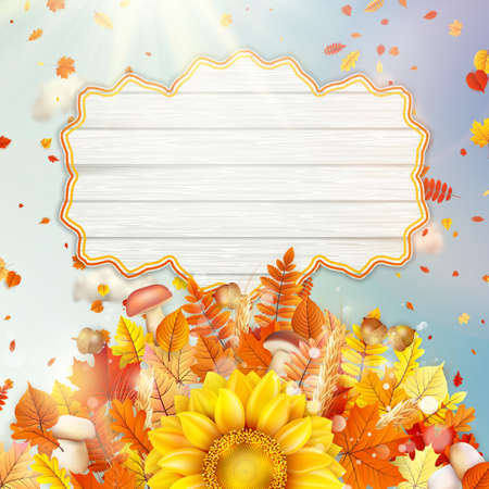 wet leaf: Background on a theme of autumn Illustration