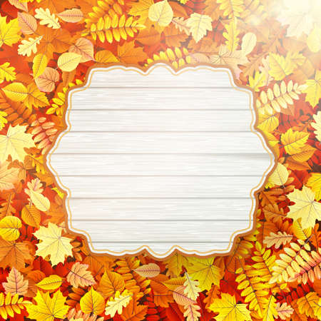 autumn tree: Autumn Concept Background. Vintage card with leaves. Illustration