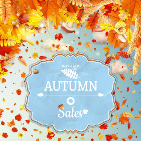 wet leaf: Background on a theme of autumn vector file included Illustration