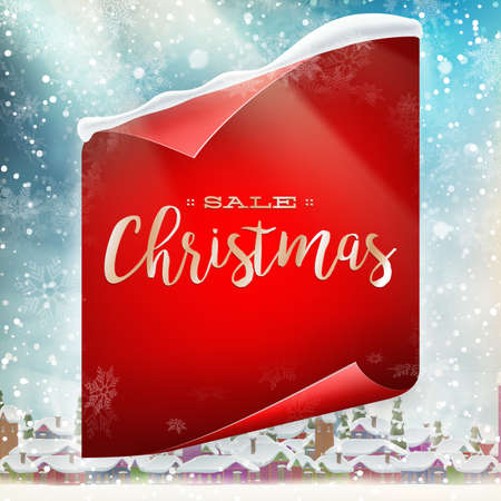 ice sheet: Merry Christmas greeting card template with red scroll paper. EPS 10 vector file included Illustration