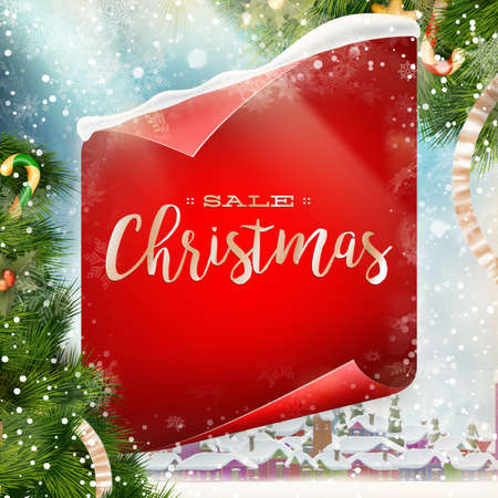 christmas winter: Merry Christmas greeting card template with red scroll paper. EPS 10 vector file included Illustration