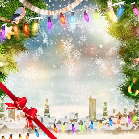 christmas scene: Christmas holiday blinking abstract background.