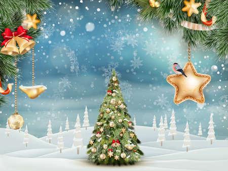 sapin de Noël sur le paysage d'hiver.