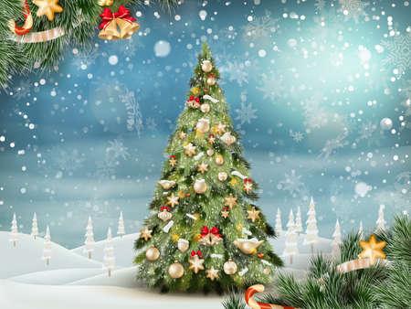 winter tree: Christmas fir tree on winter landscape.
