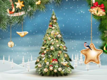 christmas garland: Christmas fir tree on winter landscape.