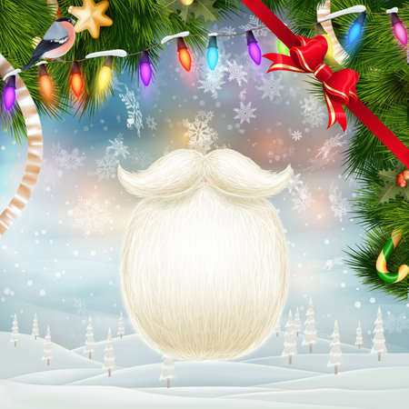 year s: Santa s beard with Happy New Year decoration. EPS 10 vector file included