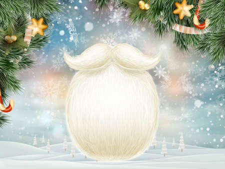 ho: Santa s beard with Happy New Year decoration. EPS 10 vector file included