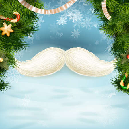 year s: White Santa s moustache, Merry Christmas and Happy New Year template. EPS 10 vector file included