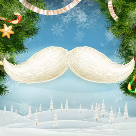 White Santa s moustache, Merry Christmas and Happy New Year template. EPS 10 vector file included