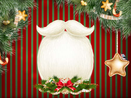 year s: Santa s beard, Merry Christmas and Happy New Year card design. EPS 10 vector file included