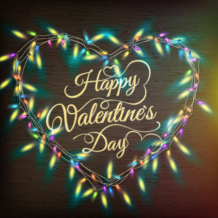 festoon: Valentine s heart-shaped wreath made of led lights on the wooden background.