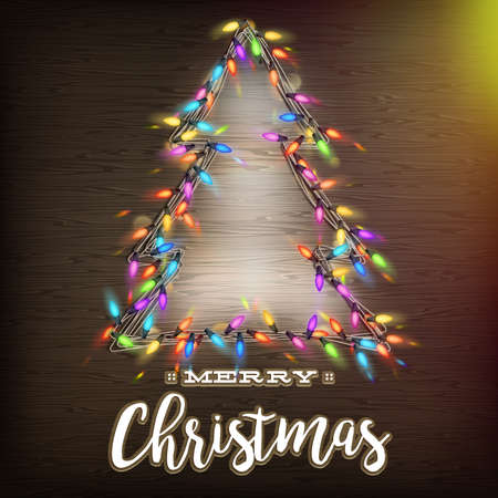 wooden texture: Glowing Christmas Tree made of led lights on the wooden background. Illustration