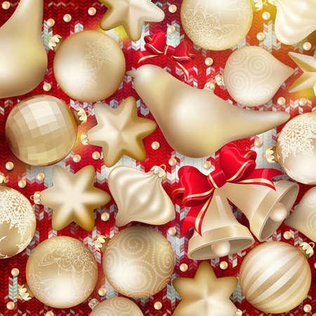 seasonal: Christmas decoration. Golden baubles, balls, stars. Seasonal card concept.