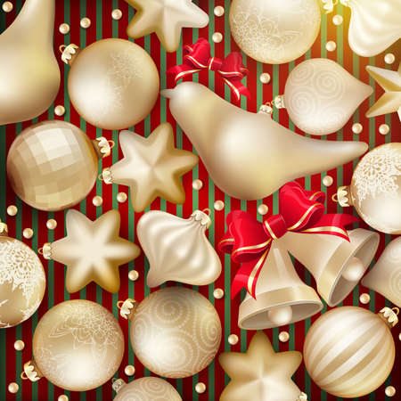 christmas concept: Christmas decoration. Golden baubles, balls, stars. Seasonal card concept.