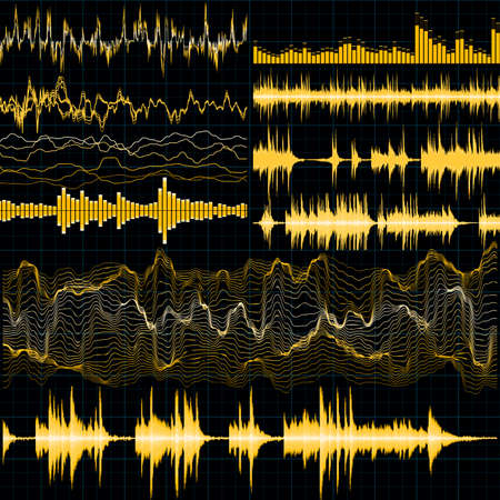 Sound waves set. Music background.