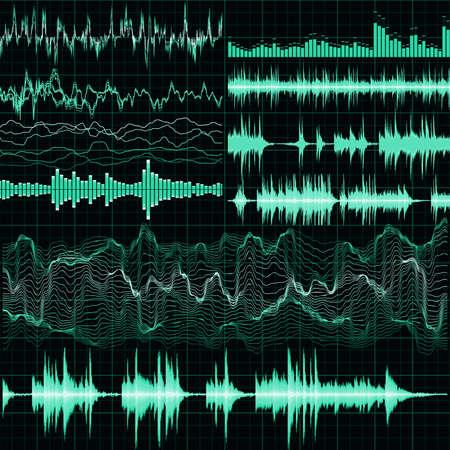 Les ondes sonores fixées. Musique de fond. fichier 10 vecteur EPS inclus